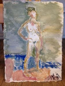 Akvarell med kaffe Målad med vänster hand Storl A4 Pris: 150 kr